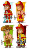 Cartoon fireman in uniform character vector set. Cartoon cool fireman in red uniform helmet with axe and water pump character vector set Royalty Free Stock Photography