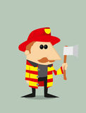 Cartoon fireman. Vector illustration background Stock Images