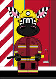 Cartoon Fireman Zebra. Vector Illustration of a Cute Cartoon Fireman - Firefighter Zebra Character Stock Images