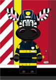 Cartoon Fireman Zebra. Vector Illustration of a Cute Cartoon Fireman - Firefighter Zebra Character Stock Photos