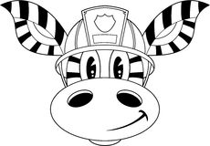 Cartoon Fireman Zebra. Vector Illustration of a Cute Cartoon Fireman - Firefighter Zebra Character Royalty Free Stock Image