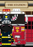 Cartoon Fireman Zebra. Vector Illustration of a Cute Cartoon Fireman - Firefighter Zebra Character Stock Photography