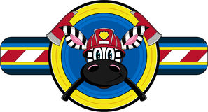 Cartoon Fireman Zebra. Vector Illustration of a Cute Cartoon Fireman - Firefighter Zebra Character Stock Photo