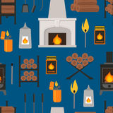 Cartoon Fireplace Background Pattern. Vector. Cartoon Colorful Fireplace Background Pattern on a Blue Flat Style Design for Web. Vector illustration Royalty Free Stock Photography