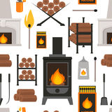 Cartoon Fireplace Background Pattern on a White . Vector Stock Image