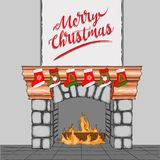A cartoon fireplace decorated for Christmas. Vector illustration. A cartoon fireplace decorated for Christmas. Vector Royalty Free Stock Photography