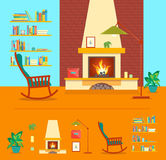Cartoon Fireplace Interior for House. Vector. Cartoon Fireplace and Element Set Interior for House Flat Style Design Domestic Comfort. Vector illustration Stock Photography