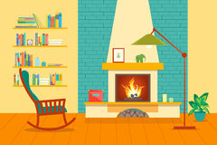 Cartoon Fireplace Interior for House. Vector Royalty Free Stock Image