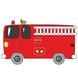 Cartoon firetruck. Vector illustration of a red cartoon firetruck Stock Photos