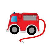 Cartoon firetruck. A cartoon firetruck with a red hose Royalty Free Stock Image