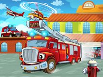 Cartoon firetruck driving out of fire station to action with other different fireman vehicles. Illustration for children vector illustration