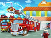 Cartoon firetruck driving out of fire station to action with other different fireman vehicles. Illustration for children stock illustration