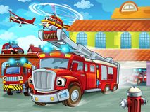 Cartoon firetruck driving out of fire station to action with other different fireman vehicles. Illustration for children royalty free illustration