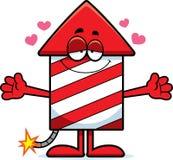 Cartoon Firework Hug. A cartoon illustration of a firework rocket ready to give a hug Royalty Free Stock Photos