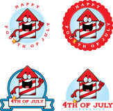 Cartoon Fireworks Graphic. A cartoon illustration of fireworks in a 4th of July themed graphic Stock Photography