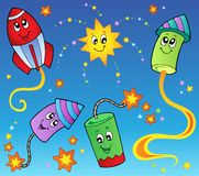 Cartoon fireworks theme 2. Vector illustration Stock Images