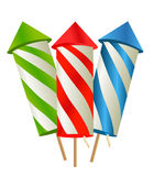 Cartoon fireworks. Vector illustration on white Stock Image