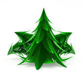 Cartoon Firs. Stylized cartoon 3d fir trees, over white Royalty Free Stock Photo