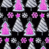 Cartoon firs, snowflakes. Watercolor seamless greeting pattern. New. Watercolor seamless greeting pattern. New Year background. Celebration illustration. Merry Royalty Free Stock Photo