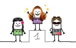 Cartoon First Star Woman on Podium. Collage Royalty Free Stock Image