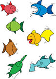 Cartoon fish. Seven funny looking cartoon fish. Redfish, angryfish, happyfish, flounderfish, goldfish, swordfish and axefish Stock Photos