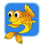 Cartoon fish. On blue. Vector illustration Royalty Free Stock Photography