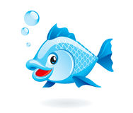 Cartoon fish. Cute cartoon fish on white background Stock Photos
