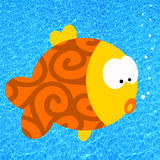 Cartoon fish. In clear blue water Royalty Free Stock Photography