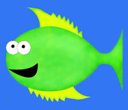 Cartoon Fish. A large, green cartoon fish with big eyes and yellow fins Royalty Free Stock Photography