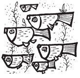 Cartoon fish. Hand drawn image of cartoon tropical fishes swimming royalty free illustration