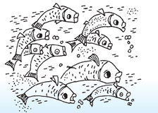 Cartoon fish. Hand drawn image of cartoon tropical fishes swimming Stock Photo