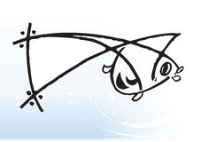 Cartoon fish. Drawing on a elegant blue wave vector background Royalty Free Stock Photography
