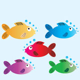 Cartoon fish. Five cartoon fish with space to include text for a card Royalty Free Stock Photos