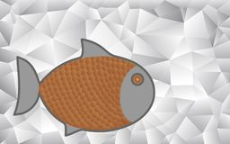 Cartoon fish on an abstract geometric pattern. Symbolizing foil for cooking fish dishes Stock Photography
