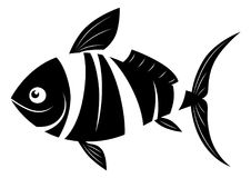 Cartoon fish black and white. Cartoon black and white striped fish silhouette Royalty Free Stock Photography
