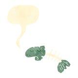 Cartoon fish bones. Retro cartoon with texture. Isolated on White Stock Photo