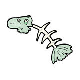 Cartoon fish bones. Retro cartoon with texture. Isolated on White Royalty Free Stock Photography