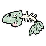 Cartoon fish bones. Retro cartoon with texture. Isolated on White Stock Image