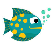 Cartoon fish with bubbles. Fish on a white background. Vector Illustration. Fish mouth with bubbles. Fish on a white background. Vector Illustration. eps 10 Stock Images