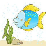 Cartoon fish and bubbles in the water. Vector illustration Royalty Free Stock Image