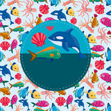 Cartoon fish card. Illustration Royalty Free Stock Images