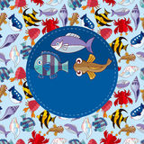 Cartoon fish card Royalty Free Stock Photo