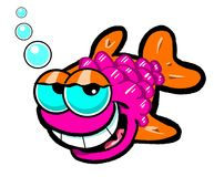 Cartoon fish. Cartoon caricature of red and orange fish with air bubbles Stock Photo