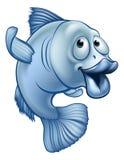 Cartoon Fish Character. A blue cute cartoon fish character waving Royalty Free Stock Photos