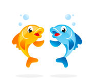 Cartoon fish characters. Cute golden and blue fish vector illustration Stock Photo