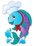 Cartoon fish chef. Vector illustration Stock Photos