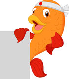 Cartoon fish chef holding blank sign. Illustration of Cartoon fish chef holding blank sign Royalty Free Stock Image