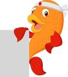 Cartoon fish chef holding blank sign Royalty Free Stock Image