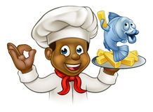 Cartoon Fish and Chips Chef. A cartoon black chef character holding fish and chips meal Stock Image