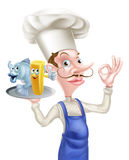 Cartoon Fish and Chips Chef Royalty Free Stock Photo
